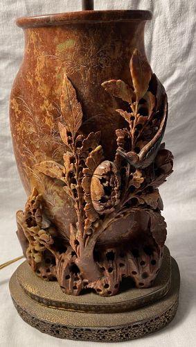 Carved Red Soapstone Vase Lamp