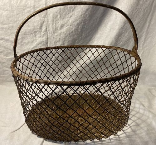 Woven Brass Basket With Handle