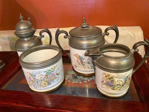 Antique Group 4 Household White French Enamel Florals Set in Pewter
