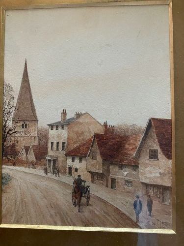 1910 Watercolor Painting Signed E. dliP. Herme