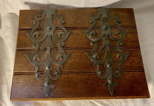 Antique Hand Made Wood Box with Metal Mounts and Keyhole