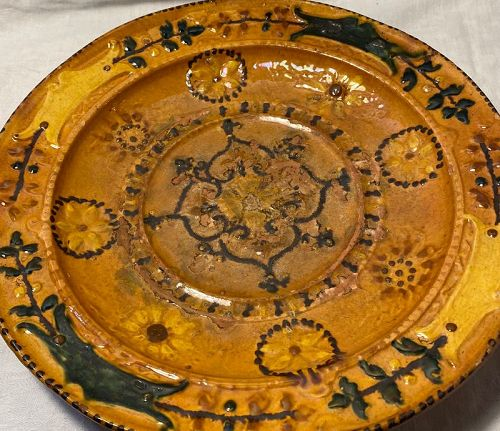 Old Redware Plate Golden Yellow , Orange , Green Hand made