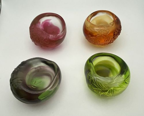 Liuligongfang Art Glass Set of Four Bowls Famous Taiwan Artist NIB