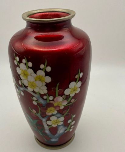 "Red Pigeon Japanese Cloisonee Vase 6 1/4"""