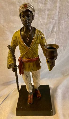 """15 1/2"""" Cold Painted Cast Bronze Moor Man Statue Candleholder"""