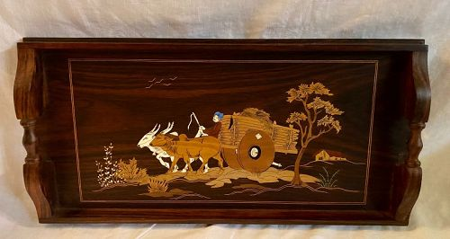 Inlaid Rose Wood Serving Tray