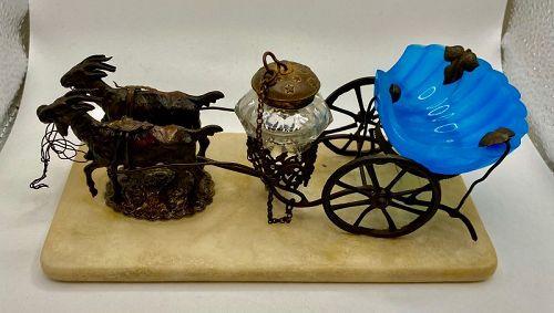 Antique 19th Century Palais Royal Blue Opaline Donkey Cart Inkwell
