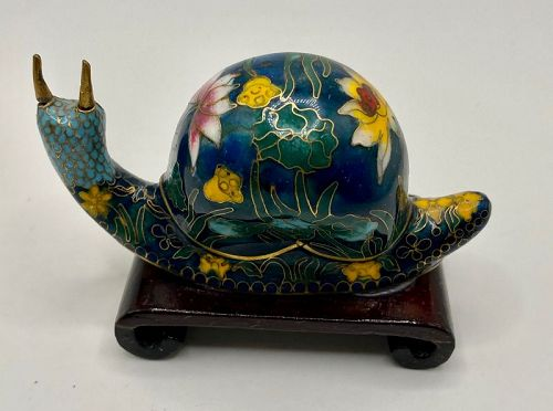 Chinese Cloisonne Snail on Stand