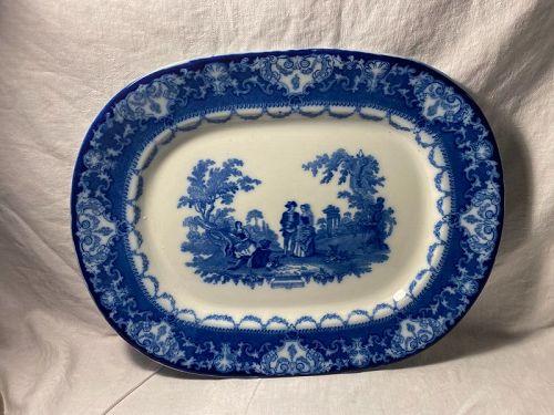 Royal  Doulton  Burslem Lambeth English Ceramics Flow Blue Watteau