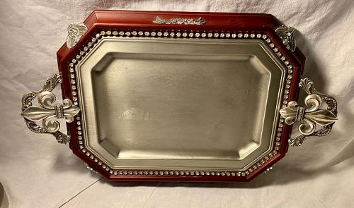 Lisa Carrier Wood & Pewter Jeweled Tray