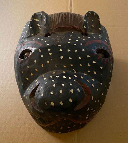 Ethnographica Folk Art Cultural Bozo Tribe Mali Black Leopard Mask