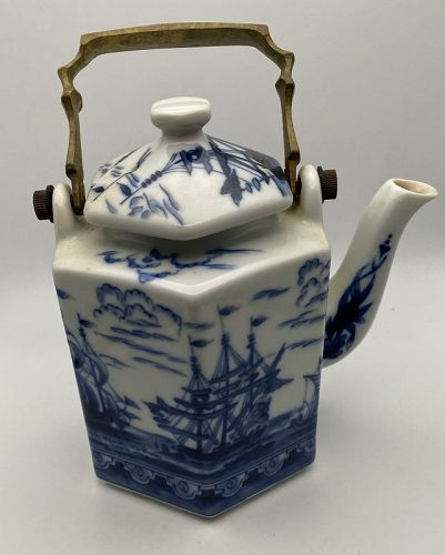 Chinese Blue & White Teapot Bronze Handle Clipper Ships