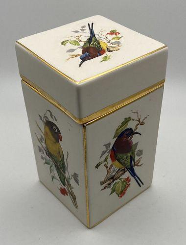 Vintage Carlton Ware English Ceramics Box Bird Motif Art Pottery