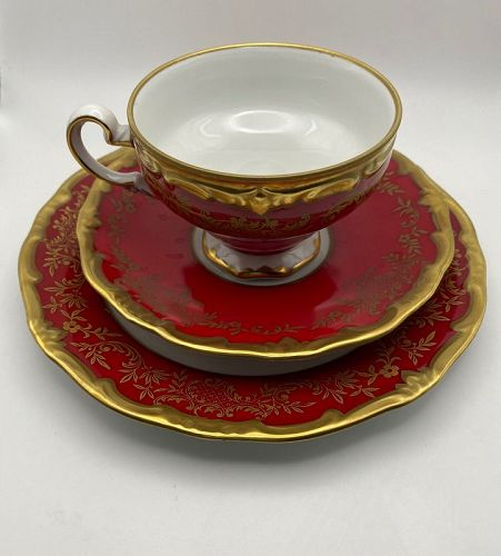 Weimar China Ruby Red Cup, Saucer, Luncheon Plate Katharena Pattern