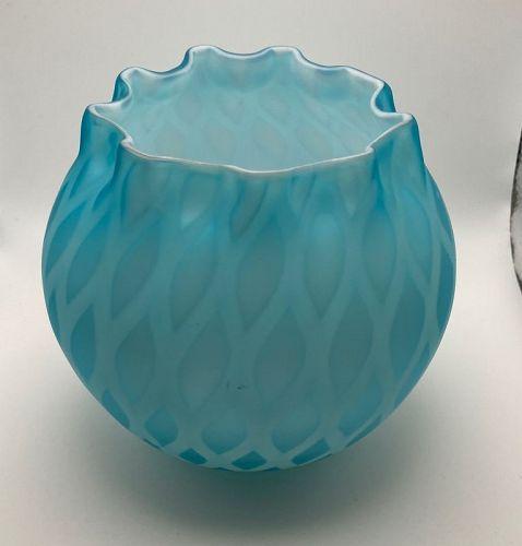 Antique Mount Washington Quilted Diamonds Aqua Blue Bowl & Glass Book
