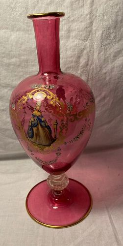 19th C Pink Glass Bohemian Hand Painted Tall Portrait Vase