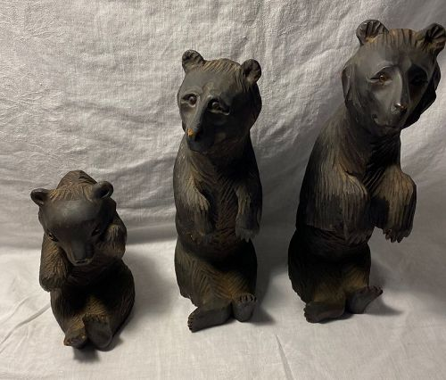 Antique Tolstoy's Three Bears Figures Russian Wood Carvings
