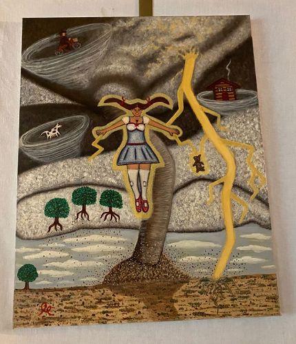"""Illusive Los Angeles Street Surrealist """"Jer"""" (1978) Acryllic Painting"""