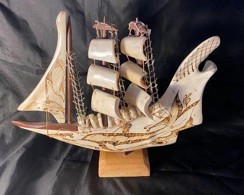 Scrimshaw Sailing Ship Model