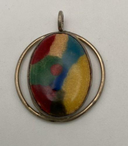 925 Sterling Silver & Enamel Pendant 1970's Modern Pendant