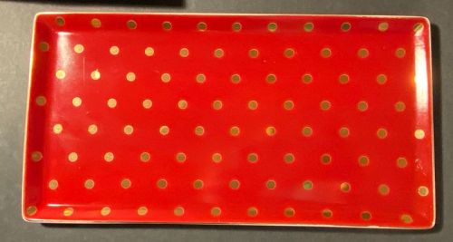 Vintage Polka Dot Soiree Rouge Rectangle Glass Tray Condition:Used