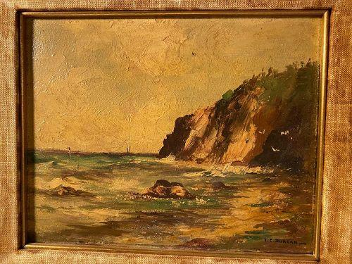 California Coastal Oil Painting on Board T.C. Duncan American Artist