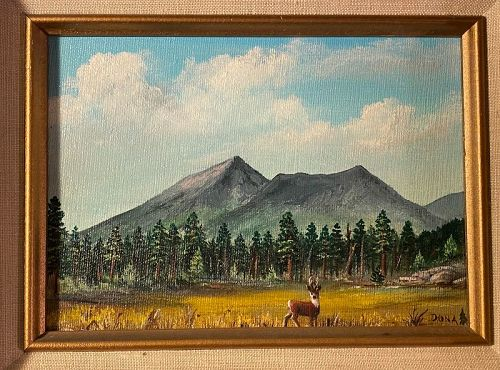 American Western Pastoral Artist Oil on Board Painting Donna Erickson