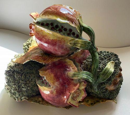 Rare Vintage Italian Majolica Palissy Pomegranate Fruit Centerpiece