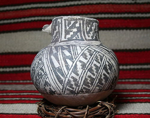Anasazi/ Tularosa Black on White Olla with Dog Head Lug No Restoration