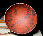 Anasazi / Wingate black on red with snake design bowl ca. 1300 ad.