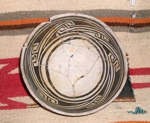 "Anasazi black on white bowl ca 1100 to 1300 ad. ""NO RESTORATION"""