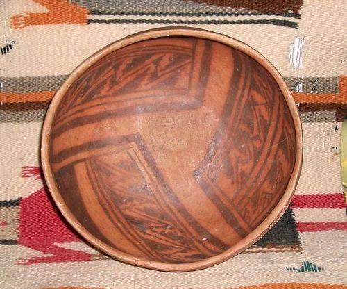 "Anasazi / Jeditto black on orange bowl ca. 1400 ad ""NO RESTORATION"""