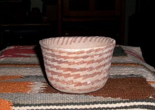 "Hohokam red on buff bowl ca 1250 ad. ""MINT"""