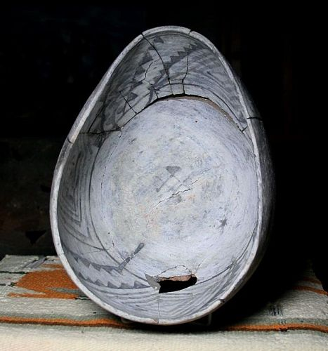 Holbrook Black on White Very large Oval pouring bowl 1050 to 1150 ad.