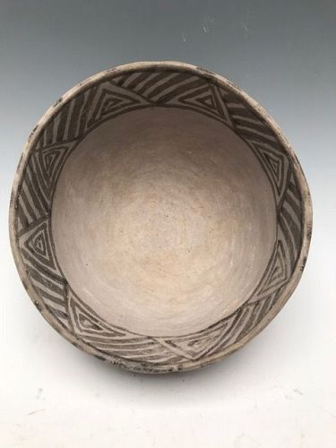 Anasazi / Mesa Verde black on white bowl ca 1100 to 1300 ad.