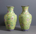Pair of Chinese Enamel Vases, Canton, 19th Century.