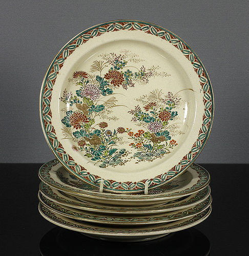 A set of five Japanese Kyoyaki plates, 19th century.