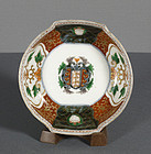 A Japanese Imari Porcelain Faux Armorial Dish, late 18th Century