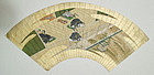 Japanese Toas School painted fan, 17th century.