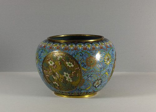 Chinese cloisonné and champlevé enamel jardiniere. Early 19th century.