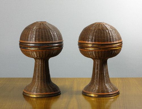 A Rare Pair of Bamboo Ritual Vessels, Bian, Sun Altar