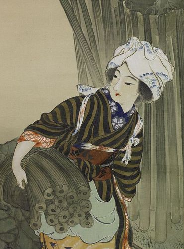 A Japanese painting on silk by Mizuta Chikuho, 1883~1958.