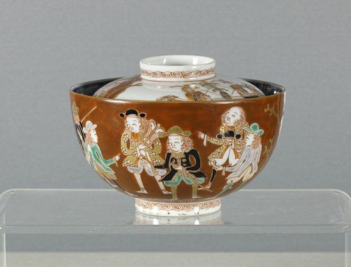 A Japanese Porcelain 'Black Ship' Bowl & Cover. Early 19th Century.