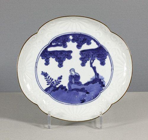 A Japanese Arita Mokko Dish, 18th Century. (2)