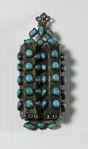 Islamic Silver & Turquoise Pendant. 19th Century.