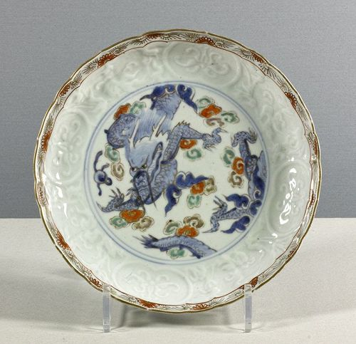 An 18th century Japanese Arita porcelain dragon dish