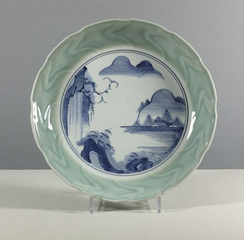 A large Arita Celadon and Blue & White porcelain dish, 18th century.