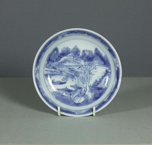 A Chinese �Master of the Rocks� Saucer Dish, Kangxi, late 17th century