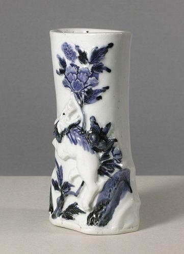 Japanese Arita Kakehana, Wall-vase, 18th century. Karashishi