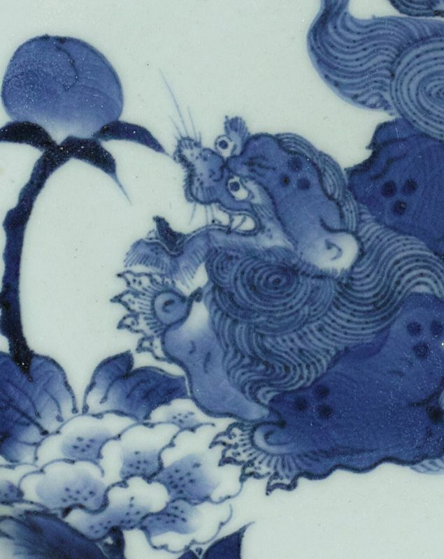Japanese Arita Shishi and Botan Charger, 18th century